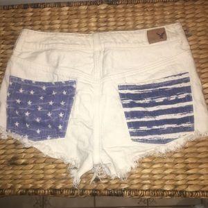 AOE Off-White Denim Shorts w Stars & Stripes